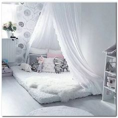 Canopy bed diy - 32 Small Bedroom Design Ideas For your Apartment bedroomideas bedroomdecor bedroomdesign ⋆ All About Home Decor Cute Bedroom Ideas, Cute Room Decor, Room Ideas Bedroom, Baby Bedroom, Baby Room Decor, Girls Bedroom, Bedroom Decor, Kid Bedrooms, Bed Ideas