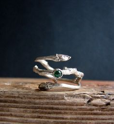 Emerald Ring Silver Twig Cabochon Witch Ring Sterling by Nafsika
