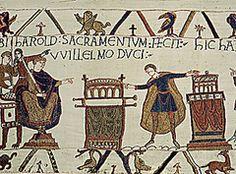Art History E.H. Gombrich Le roi Harold prête serment à Guillaume le Conquérant avant son retour en Angleterre, tapisserie de Bayeux, vers 1080.