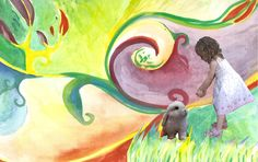 """Continuando con la temática """"Infancia-arte-literatura""""  elegí trabajar con """"Alicia en el país de las maravillas"""".Compuse con fotos de mi hija como """"Alicia""""+ fondos de mis ilustraciones + algunas otras fotos sacadas de internet."""