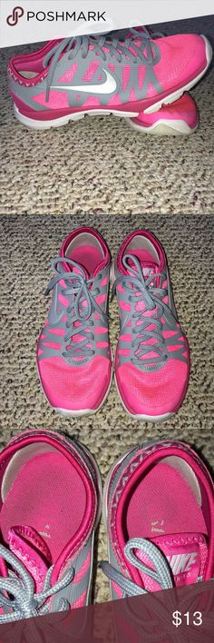 Nike running shoes Pink and gray Nike running shoes. Super comfy. They are the flex supreme TR3. Good conditon. A few signs of wear. Nike Shoes Athletic Shoes
