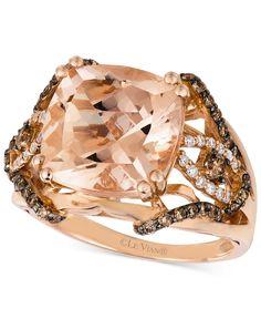 Le Vian Peach Morganite (6 ct. t.w.) Chocolate Diamonds/Vanilla Diamonds (1/2 ct. t.w.) Ring in 14k Rose Gold - Le Vian Shop - Jewelry & Watches - Macy's