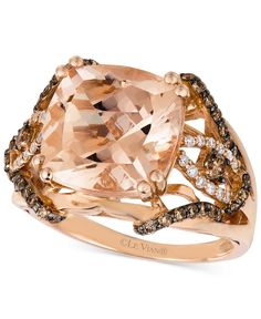 Le Vian Peach Morganite (6 ct. t.w.) Chocolate Diamonds/Vanilla Diamonds (1/2 ct. t.w.) Ring in 14k Rose Gold - Le Vian Shop - Jewelry & Watches - Macy's