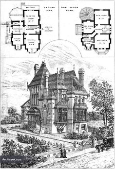 Victorian Gothic Revival 1875 House, floor plan, Upper Norwood, London. Architect Sextus Dyball from archiseek.com