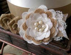 Rustic Burlap And Lace Cake Flowers With di PetalsAndStardust
