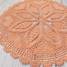 Orange round lace doily, crocheted, Cotton doily, crochet doily handmade gift for the holiday Crochet Doily Rug, Crochet Doily Patterns, Granny Square Crochet Pattern, Crochet Round, Crochet Home, Bead Crochet, Crochet Gifts, Crochet Sunflower, Crochet Decoration
