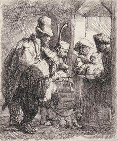 Rembrandt Van Rijn (1606-1669) The Strolling Musicians 1635 (143 x 118 mm)
