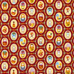 Babushka and Bunny Medallions Red Cotton Fabric by Cosmo Textiles Upholstery Fabric For Chairs, Cork Fabric, Voodoo, Pattern Wallpaper, Cotton Fabric, Bunny, Brisbane Australia, Textiles, Quilts
