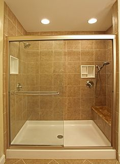 How to Determine the Bathroom Shower Ideas : Cool Brown Bathroom Shower Stall Design With White Floor Tile Ideas Small Bathroom Tiles, Small Bathroom With Shower, Bathroom Design Small, Modern Bathroom, Small Bathrooms, Shower Bathroom, Master Bathroom, Brown Bathroom, Simple Bathroom