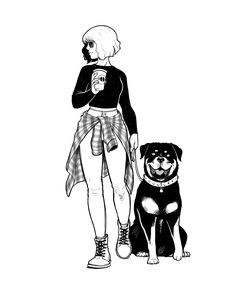 Black and White illustration. Sketch of a Girl and her rottweiler.