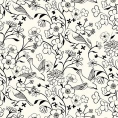 Doves and blossoms pattern