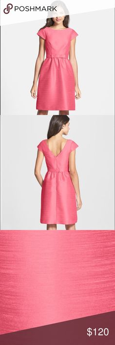 """Alfred Sung Fit & Flare Dress In Papaya. Size 8. Style is this season and retails at $198 on Nordstrom.com. Belt is removable. Worn once and dry cleaned. In perfect condition. A silky dupioni weave with gleaming jewel-tone luster tailors a cap-sleeved sheath.  38"""" length (size 8). Hidden back-zip closure. Bateau neckline with rounded V-back. Belt is removable. 100% polyester. Dry clean. Wedding sizing runs small so recommend sizing up. See one of my favorite blogs…"""