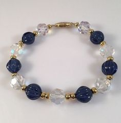 Elegant Blue Clear Faceted Crystal Bead Bracelet w Gold Tone Box Clasp | eBay