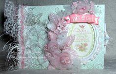 OOAK Shabby Chic Baby Girl Envelope Mini Album  Pink by tara48