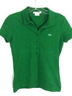 Lacoste Alligator Logo Polo Green Shirt F8332 Cotton Stretch Womens 34 / XS / 2 - Preowned