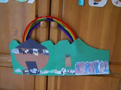 Noah's Ark. We added each piece of the craft as we read about it. The rainbow came after the worship of Noah's family.
