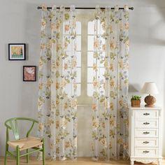 Top Finel Yellow Flower Window Treatments Sheer Curtain Panels 54 inch Width X 96 inch Length,Grommets,Single panel