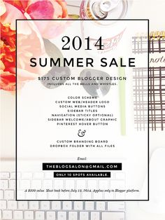 2014 Summer Sale | Custom Blogger Design