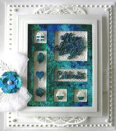 Window Frame Card backed with embossing folder design. Spellbinders Cards, Bday Cards, Sympathy Cards, Sue Wilson, Cool Cards, Creative Cards, Greeting Cards Handmade, Shadow Box, Making Ideas