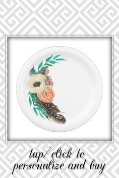 Shop Boho Watercolor Floral Paper Plate created by Oasis_Landing. Personalize it with photos & text or purchase as is!