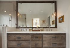 pendants in master bath mirror