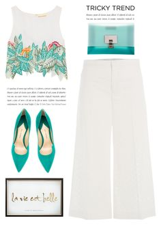 """""""Trickytrend -White Culottes"""" by yexyka ❤ liked on Polyvore featuring Mara Hoffman, Paul Andrew, RED Valentino, Proenza Schouler, TrickyTrend and culottes"""