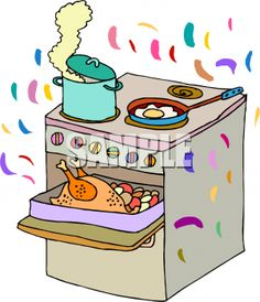 Cooking Images Free | Clipart Picture of a Stove with Thanksgiving Dinner Cooking on it
