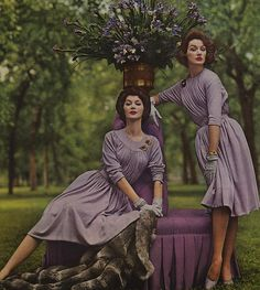 Draped Wool Mauve Dresses 1950s