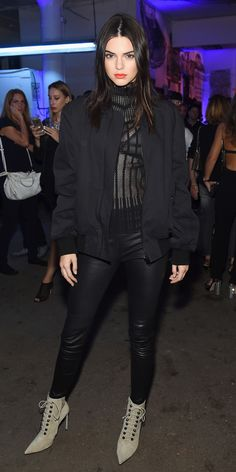 All of Kendall Jenner's Fashion Week Looks | InStyle.com At the afterparty for the Givenchy spring 2016 runway show, which Jenner walked in, the style star paired a sheer Issey Miyake blouse with black skinnies, Balenciaga lace-up booties, and a black bomber.