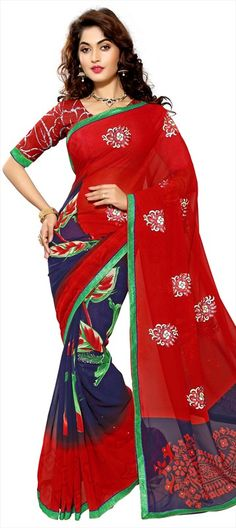 701917 Blue, Red and Maroon  color family Embroidered Sarees, Party Wear Sarees, Printed Sarees in Faux Chiffon fabric with Lace, Machine Embroidery, Printed, Stone, Thread work   with matching unstitched blouse.