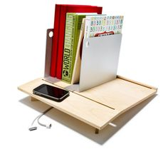 This book tray will keep everything in order.
