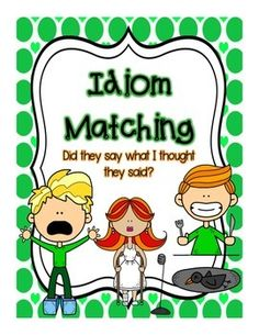 "This is a fun game that allows students to match pictures of idioms with their titles. This game can be played ""Go Fish"" style or fit well with other games. This product includes a ""how to use this product"" page, a ""Game Instructions"" page, 40 idiom matching cards, a ""Idioms Answer Sheet and two pages with idiom pictures, titles and meanings for instruction."