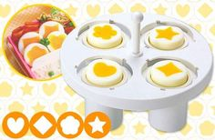 J-List lives to bring you interesting products from Japan, and this time we may have outdone ourselves. This is a magical egg shaper that can turn hard boiled eggs into works of art, with the yolk in the shape of diamonds, hearts and stars.To use it, separate the whites from the yolk for 5-6 eggs, putting each in separate containers. Pour approximately 40 cc of the egg white into each of the four holders, until it's about 4/5 of the way full. Replace the four shaped caps which seals ...