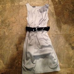 Maurice's Silver Dress Maurice's silver dress with black belt. Great condition, only worn once. Size 5/6. Maurices Dresses