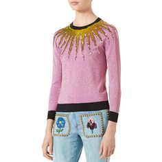 Gucci Embroidered Metallic Sweater ($1,800) ❤ liked on Polyvore featuring tops, sweaters, light pink, gucci sweater, sweater pullover, pink sequin top, sequin top and long sleeve sweater