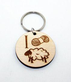 I Yarn Ewe Keychain, Laser Cut Wood, Keychain. $5.00, via Etsy.