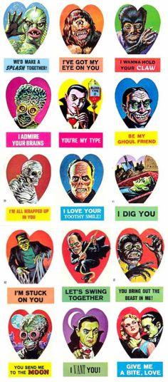 Vintage Monster Valentines Vintage Valentines, Vintage Holiday, Halloween Art, Vintage Halloween, Horror Art, Horror Movies, Monster Stickers, Vintage Magazine, Horror Monsters