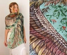 Green Women scarf, Hand painted Wings and feathers, stunning unique and useful, perfect gift