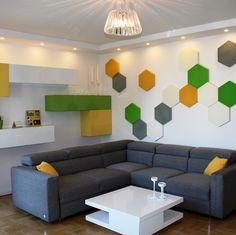 Zdjęcie z realizacji. Panele hexa w prywatnym mieszkaniu. Projekt pracownia Modernika.