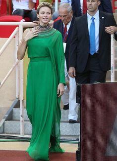 Prins Albert en Prinses Charlene bij de atletiekvergadering van IAAF