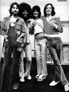 George Harrison, Billy Preston, Ron Wood & Mick Jagger, 1975