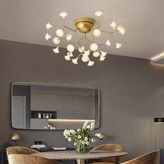 Lustre délicat à LED en métal verre pour salon chambre salle à manger, 27/36/45 lampes Mirror, Furniture, Home Decor, Cluster Pendant Light, Study Rooms, Modern Ceiling, Dinner Room, Drinkware, Bedroom