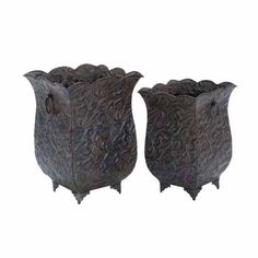 """Decorative Metal Planters Set of Two 13"""" and 12"""" Tall   eBay"""