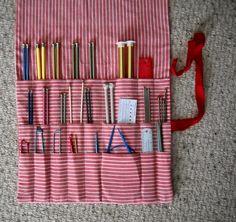 Knitting needle roll organizer, storage roll, Art brush roll organizer, Handmade & all cotton