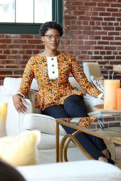 African clothing African Ankara Top African Orange Top by Quistt ~African… African Blouses, African Tops, African Dresses For Women, African Print Dresses, African Attire, African Wear, African Fashion Dresses, African Women, African Prints