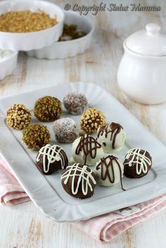 Tartufi di cioccolato misti facili e veloci in 5 modi Biscotti, Sweet Desserts, Dessert Recipes, Biscuit Cake, Cake & Co, Cakes And More, Nutella, Chocolate Recipes, San Valentino