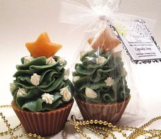 O'Christmas Tree Handmade Cold Process Cupcake Soap Vegan Cupcake Soap