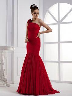 One Shoulder Trumpet Mermaid Silk Chiffon Bridesmaid Dress