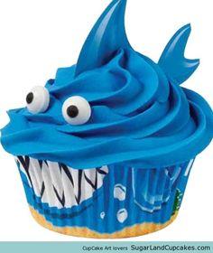 Shark Cupcakes - shark week!!!