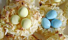 Coconut Macaroon Easter Nests... I've made these before, and they are delicious!